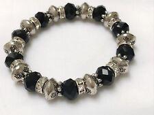 New Sparkling Diamante Tibetan Silver Faceted Black Bead  Bracelet 17cm