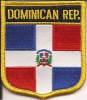 "DOMINICAN REPUBLIC  SHIELD FLAG EMBROIDERED PATCH -- IRON-ON -- NEW 2.5"" x 2.75"""