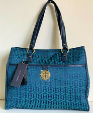 NEW! TOMMY HILFIGER MONOGRAM BLUE GREEN SHOPPER SATCHEL TOTE BAG PURSE $99 SALE