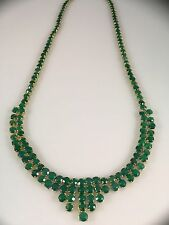 "Gorgeous Vintage Genuine Green Onyx (25ctw) ""Cleopatra"" Necklace, 19"" New"