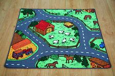 Kids Bedroom Farm Animals Play Mat Rug 100cm x 94cm Car Roads Play Nursery Mat