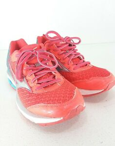 Mizuno Wave Rider 19 Women's Walking/Running Shoes Sneakers Teal/Pink Size W7.5