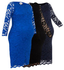 Maternity Pregnancy Stretch Lace Slash Neck Lined Dress Three Colours