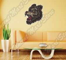 "Grizzly Brown Bear Head Wild Animal Wall Sticker Room Interior Decor 20""X25"""