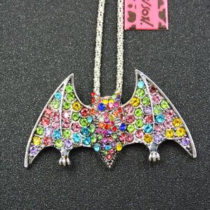 Women's Colorful Crystal Rhinestone Cute Bat Pendant Betsey Johnson Necklace