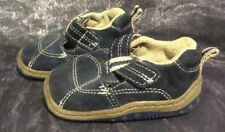boys infant baby shoes in blue suede effect. Rubber soles size 2