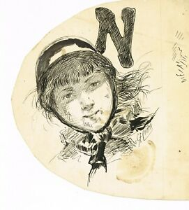 """Pen and ink drawing by G E Ciani for girl and """"N""""- Puck -1880s"""