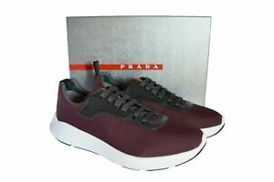 NEW Authentic PRADA Mens Shoes Sneakers Red Size US10.5 EU43.5 UK9.5 4E3148