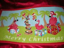 TROPICAL PINK FLAMINGO, PALMS, GIFTS CHRISTMAS ISLAND STYLE NYLON DOOR MAT RUG