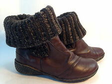 fun HEAVENLY FEET brown leather sweater cuff midcalf ankle boots 6.5 7 37