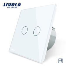 Touch Doppel 2 Gang Wechselschalter Glas Weiß LIVOLO VL-C702S-11