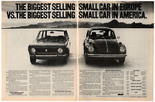 1972 FIAT 128 Vintage Original 2 page Print AD vs Volkswagen Beetle photo USA
