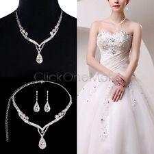 Crystal Rhinestone Tear Drop Earrings Necklace Wedding Prom Bridal Jewelry