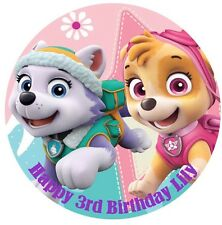 1 x Paw Patrol Everest Skye 19cm round personalised cake topper edible image