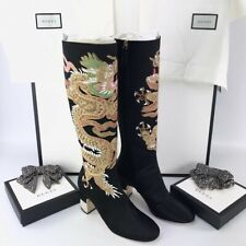 GUCCI Black Silk Satin Embroidered Candy Dragon+Swarovski crystals Knee Boots