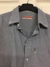 "Lee Cooper Mens Blue White Check Shirt Size 16"" Collar Button Down Cotton EUC"