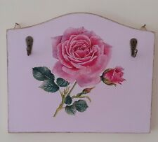 Hand Made Key Holder Decoupaged With Beautiful Rose Design