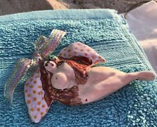 Handcrafted Signed Brunette Nude Busty Woman Pottery Ornament Angel Meg Leary