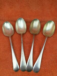 4 x Antique Silver Plate Large Serving Spoons, Walker & Hall C1920.