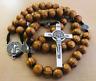 Saint St Benedict Wooden Rosary for Men Women Wood Prayer Beads Crucifix Cross
