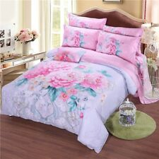 Floral Quilt Duvet Doona Cover Set Queen Size 100%Cotton Flower Bed Covers  New