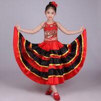 Girls Spanish  Belly Dance Dress  Flamenco Dancer Costume Fancy Dress