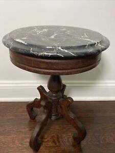 Antique Victorian Carved Mahogany Wood End Table w/ Mable Top Made in Italy #413
