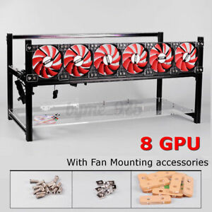 8 GPU Aluminum Stackable Open Air Mining Rig Frame Case With 6 Fans BTC/Ethereum