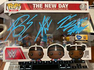 The New Day Triple Signed Auto WWE FYE Exclusive Booty O's Funko Pop JSA