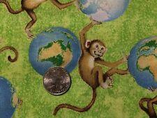 "Wilmington Animals Around the World Monkeys Cotton Quilting Fabric 44"" BTHY"