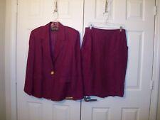 Ellen Tracy lined purple linen skirt suit size 14