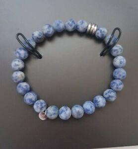 TATEOSSIAN LONDON Semi-precious Sodalite Matte Stainless Steel Bracelet RRP £125