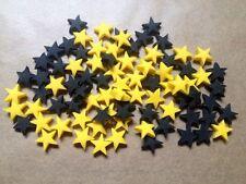 100 Comestibles azúcar Pasta Batman estrellas Cupcake Toppers Decoración Negro Y Amarillo