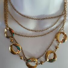 """gold tone 14"""" necklace chain multi-strand wear to work career"""