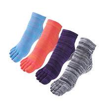 Yoga Socks Non Slip Skid Toe Grips Pilates Barre Cotton Women Men 4 Pack