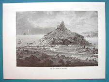 ENGLAND Cornwall St. Michael's Mount Castle - 1887 Wood Engraving