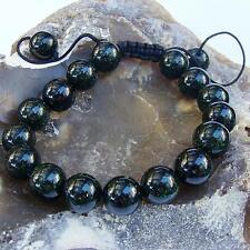 Men's GEMSTONE bracelet all 12mm NATURAL GREEN GOLDSTONE beads