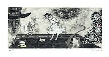 ZUEV V. (RUS), signed etching Ex libris for 2 Chinese collectors Alice wonderlan