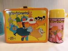 VINTAGE METAL 1968 BEATLES YELLOW SUBMARINE LUNCH BOX & THERMOS LOT