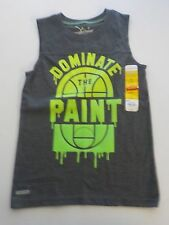 "BOYS SIZE 6 JUMPING BEANS BRAND GRAY/GREEN ""DOMINATE THE PAINT"" TANK NEW #1151"