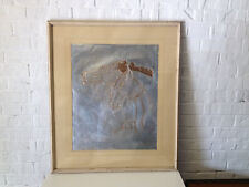 Vintage Large Framed Metal Possibly Tin Hammered or Pressed Wall Art w/ 2 Horses