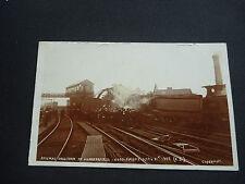 RAILWAY STATION Yorkshire  Huddersfield  Super real photographic postcard  CRASH