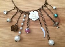 Vintage Charm Fringe Necklace Bronze Chain White Flower Dove Faux Pearls Beads