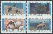 MARSHALL ISLANDS, SCOTT # 377-380, BLOCK OF 4 ENDANGERED WILDLIFE, SEA TURTLES