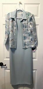 R&M RICHARDS LONG SLEEVELESS DRESS WITH JACKET ~ BLUE ~ SIZE 6P ~ NWT