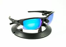 OAKLEY FLAK JACKET XLJ BLACK FRAME / REVANT ICE BLUE POLARIZED CUSTOM LENSES
