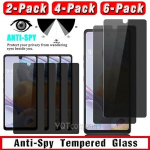 For LG Stylo 6 Privacy Anti-Spy Case Friendly Tempered Glass Screen Protector