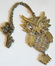 Vintage Silver Tone Owl Necklace With Rhinestone Eyes