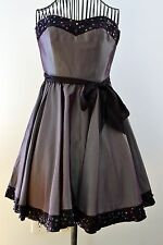 Betsey Johnson Evening Dress / Ball Gown, Size 0, Gunmetal Taupe Satin Sequined