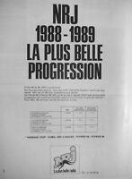 PUBLICITÉ DE PRESSE 1989 NRJ 1988-1989 LA PLUS BELLE PROGRESSION - ADVERTISING